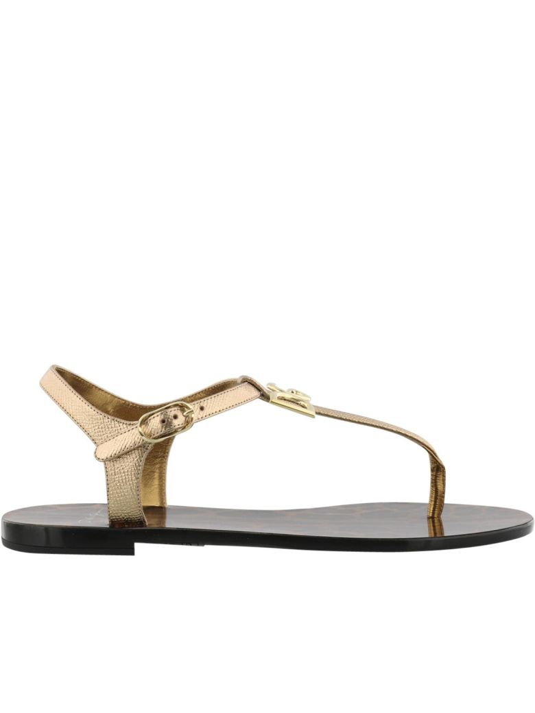 Logo-embellished Metallic Textured-leather Sandals - Gold Dolce & Gabbana