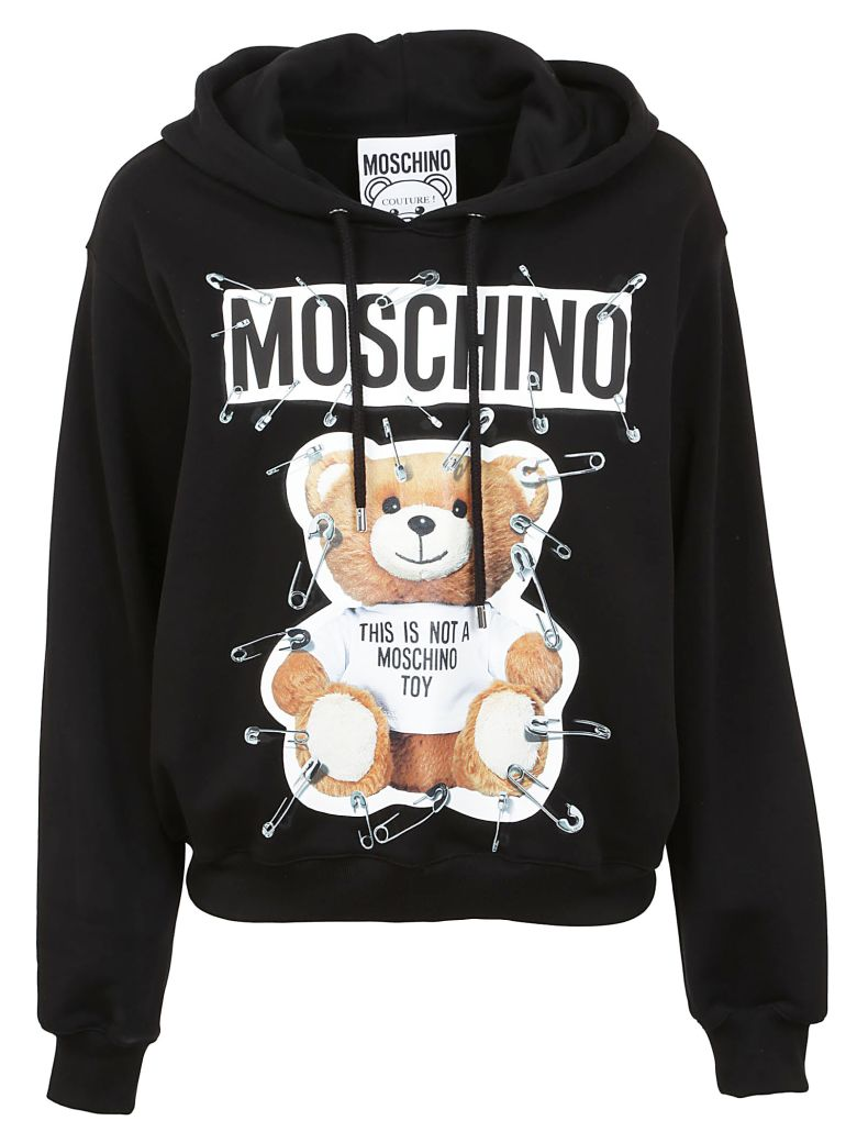 Moschino Cottons SAFETY PIN TEDDY PRINT HOODIE