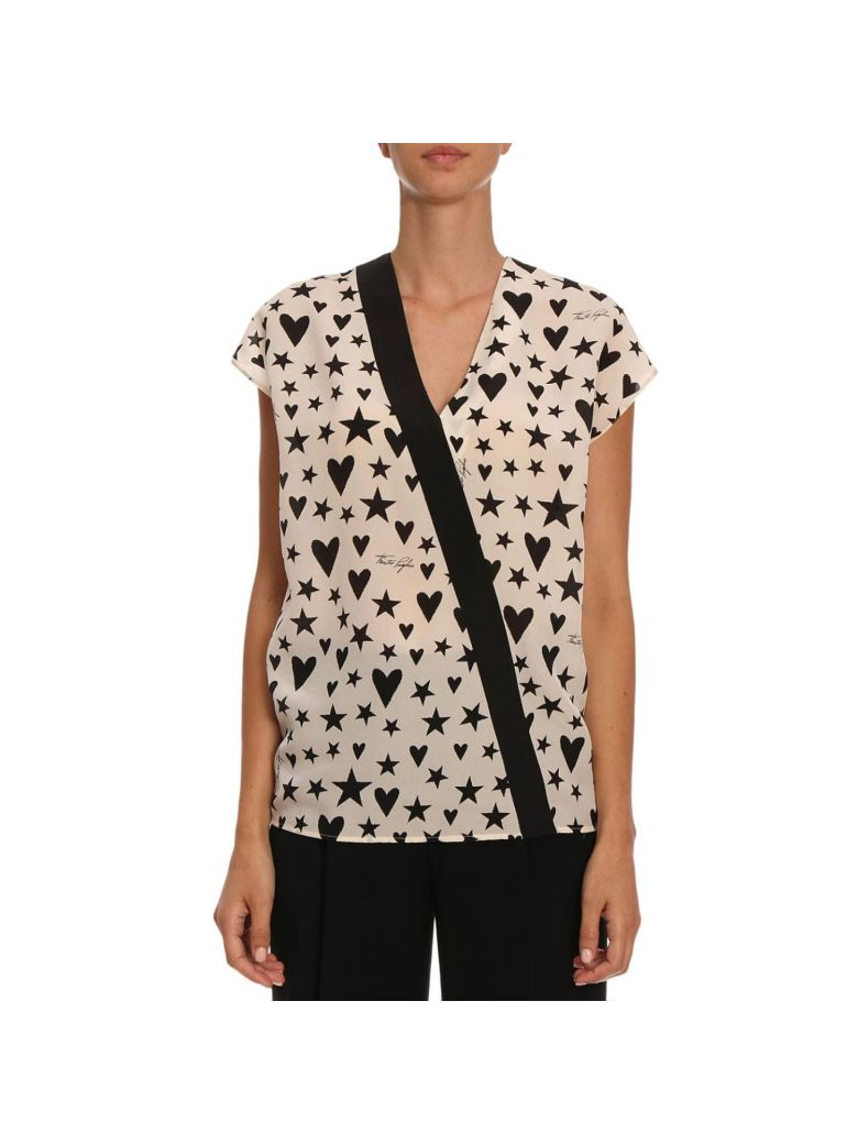 FAUSTO PUGLISI Fausto Puglisi Star And Heart Print Blouse - White