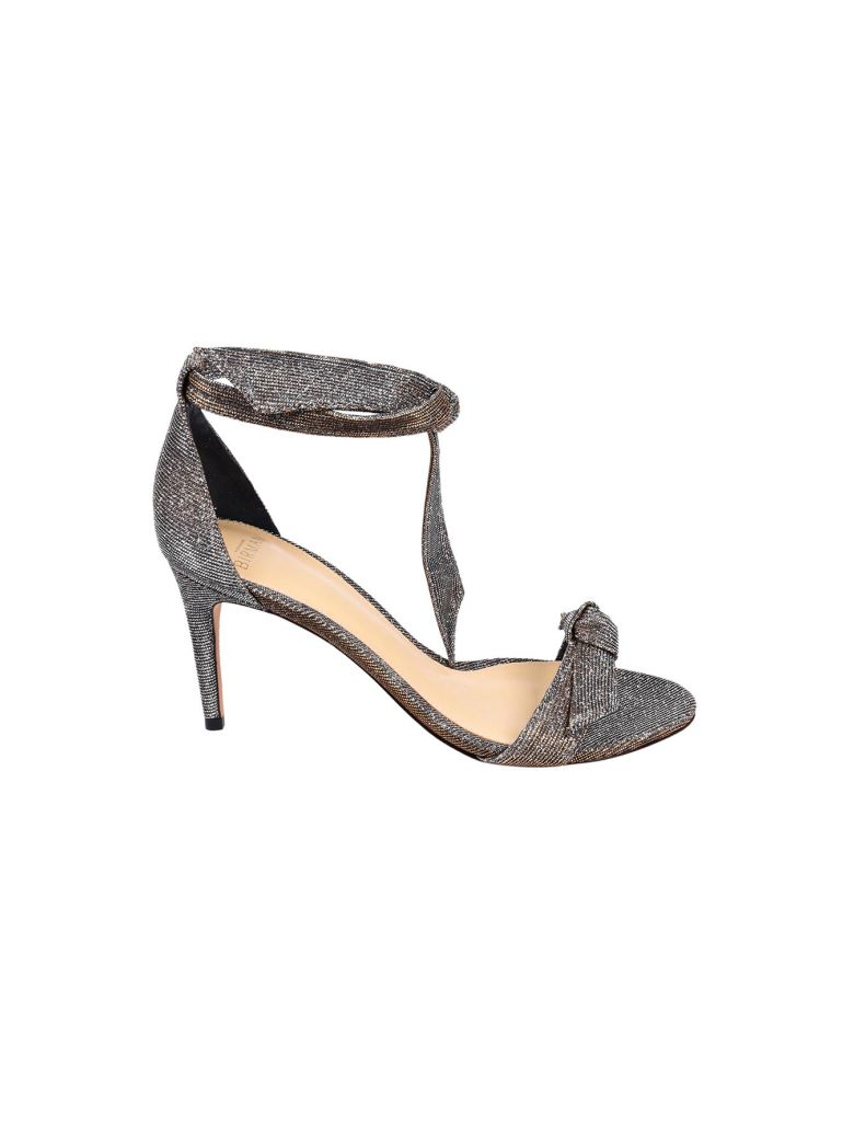 ALEXANDRE BIRMAN Clarita Mid-Heel Metallic Evening Fabric Sandals, Silver