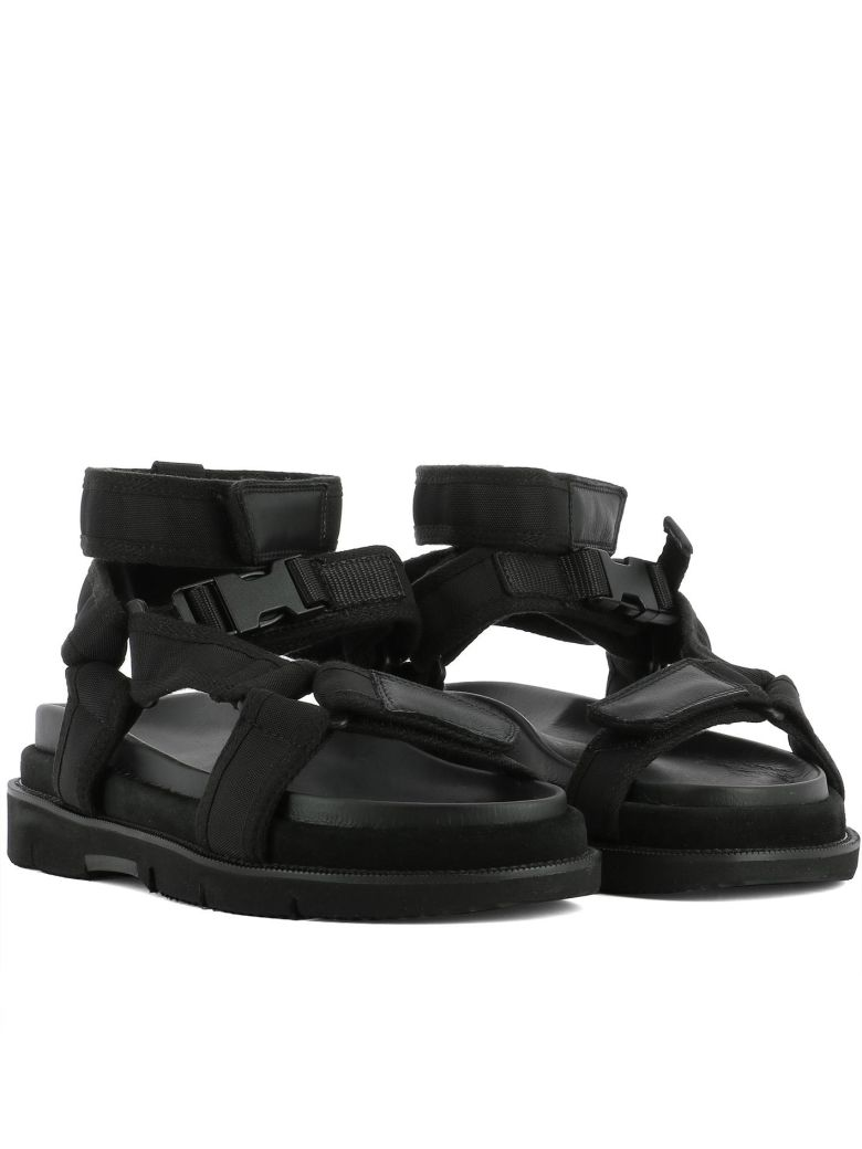 Leather And Suede-trimmed Nylon Sandals - BlackMaison Martin Margiela QDpSXEWU