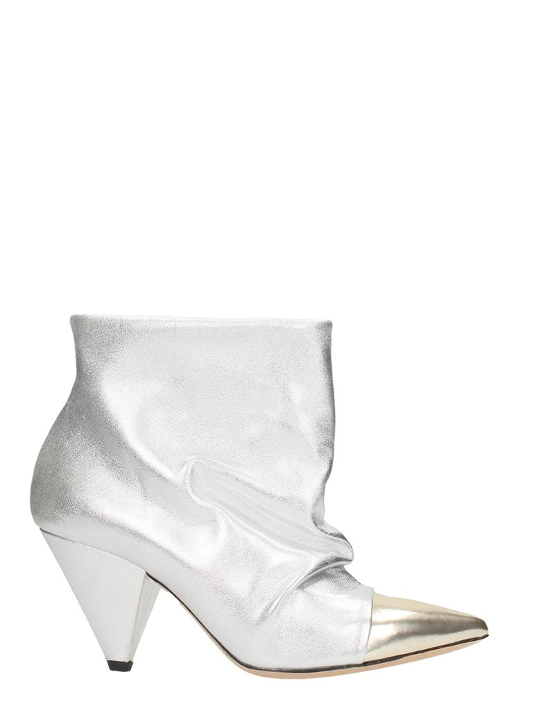 SILVER CALF LEATHER ANKLE BOOTS