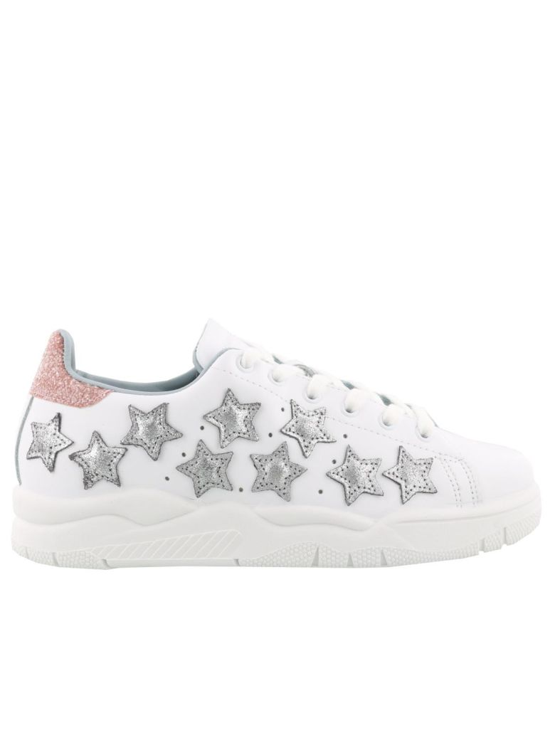 Sneakers White Leather With Stars In Glitter, White Stars