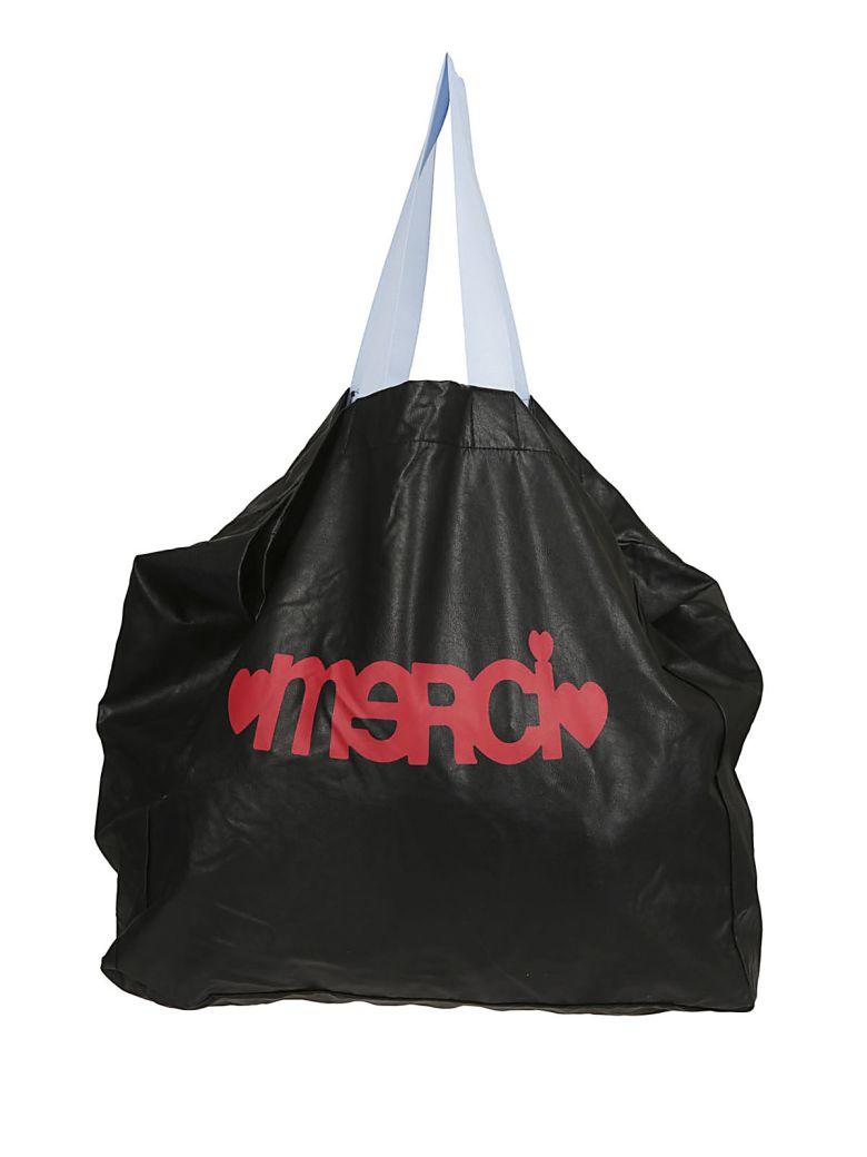 MERCI Printed Logo Shopper Bag in Black