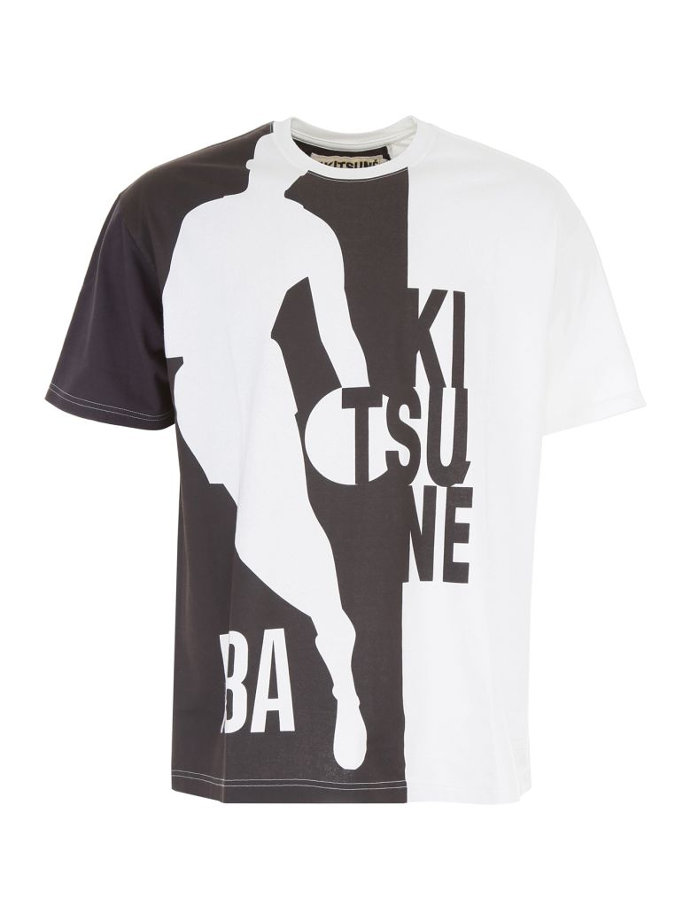 KITSUNÉ Bicolor Nba T-Shirt in Black White