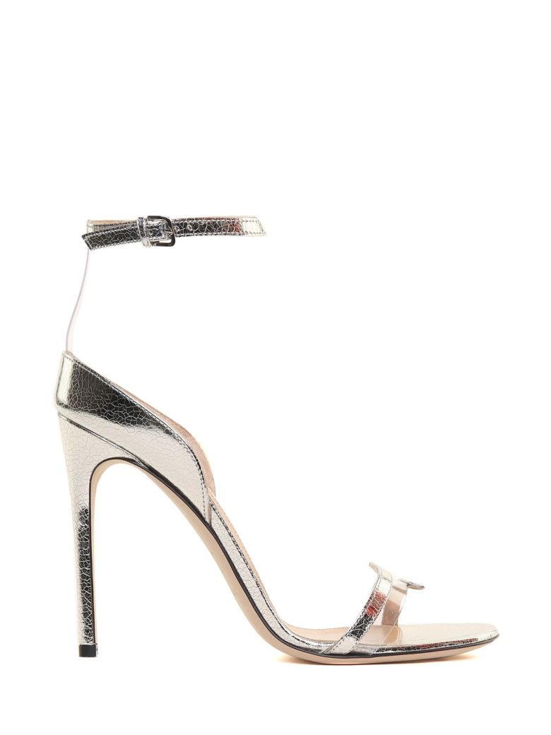 KAREN CRACKED-LAMÉ LEATHER SANDALS