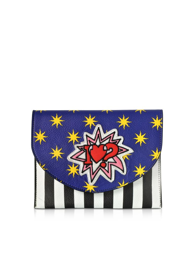 ALESSANDRO ENRIQUEZ Miracle Pop Love Leather Clutch in Blue