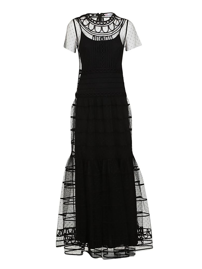 RED Valentino - Red Valentino Tierred Tulle Maxi Dress - Black ...
