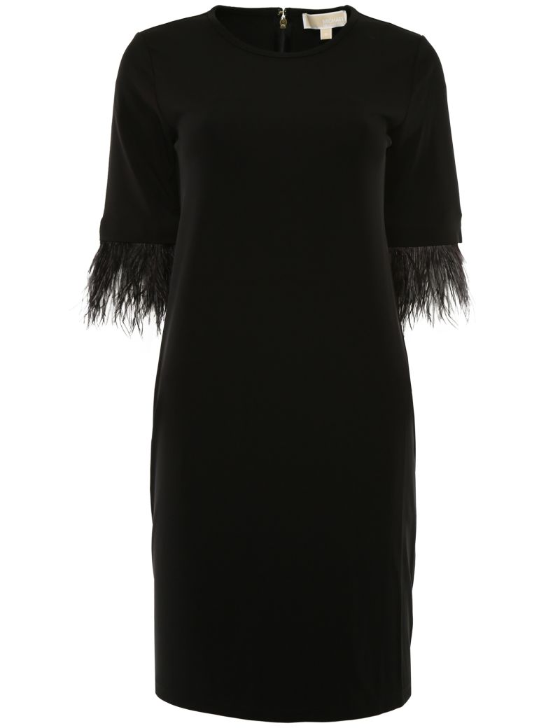MICHAEL Michael Kors Dress With Feathers - BLACK|Nero
