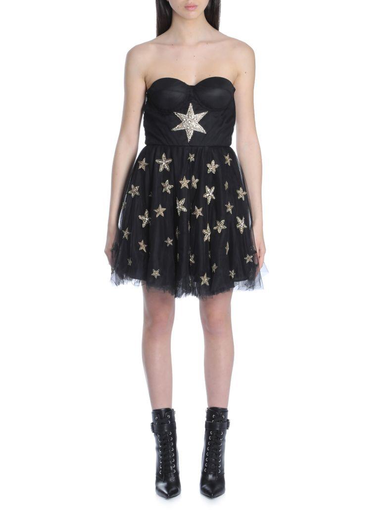 AMEN Ams18411 Bustier Dress In Net With Embr089 in Black
