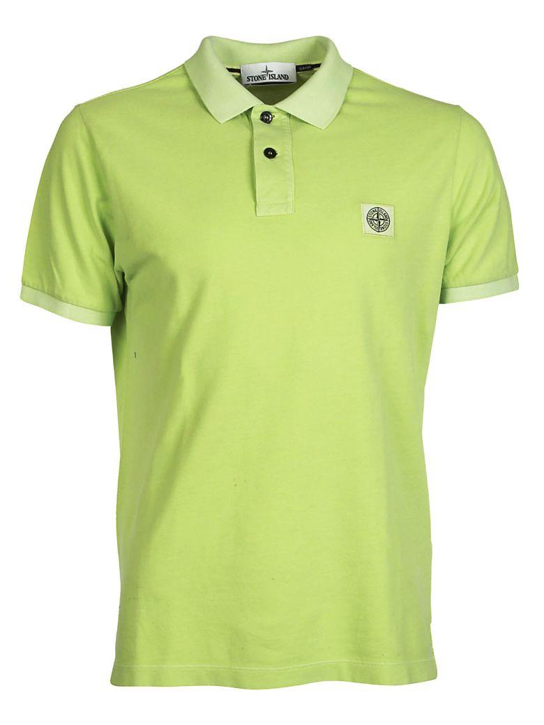 Stone Island Logo Patch Polo Shirt In Verde Chiaro Modesens