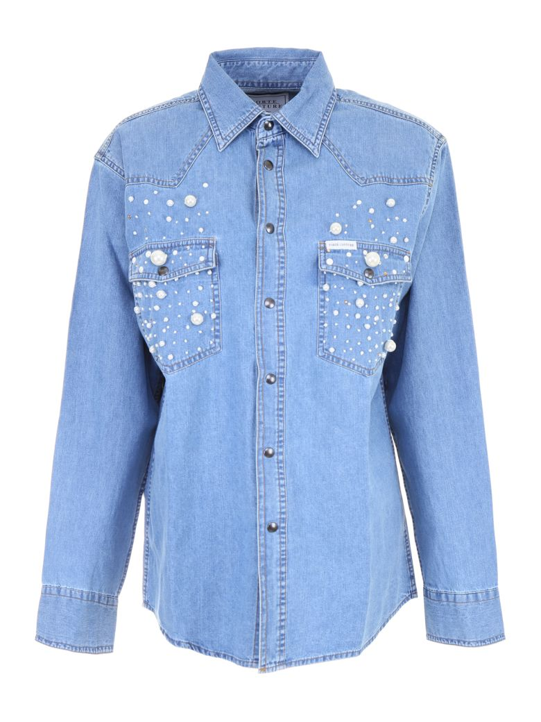 Forte Couture Denim Shirt With Pearls In Denim1 (blue)