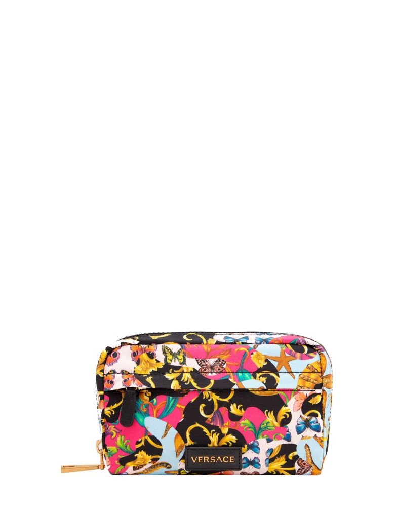 BAROCCO PRINTMANIA-PRINT LEATHER AND NYLON POUCH