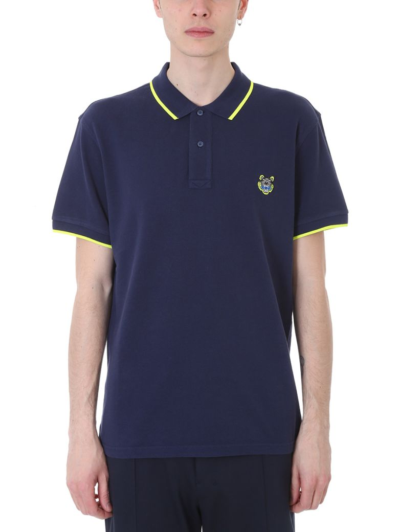 KENZO SHORT-SLEEVED POLO WITH TIGER CREST, BLUE