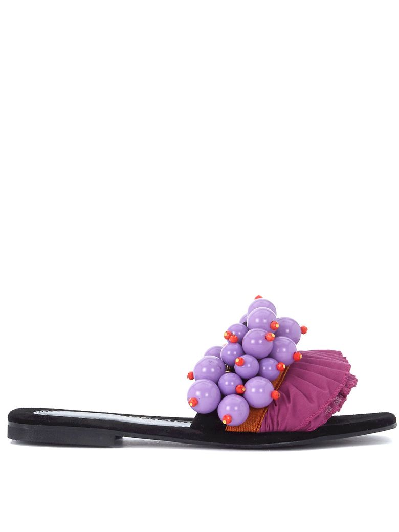 Elina Linardaki BERRY BERRY BLACK LEATHER SANDAL WITH PEARLS AND ROUCHES