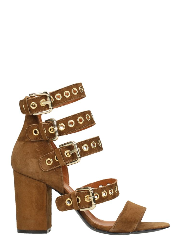 VIA ROMA 15 BROWN SUEDE LEATHER SANDALS