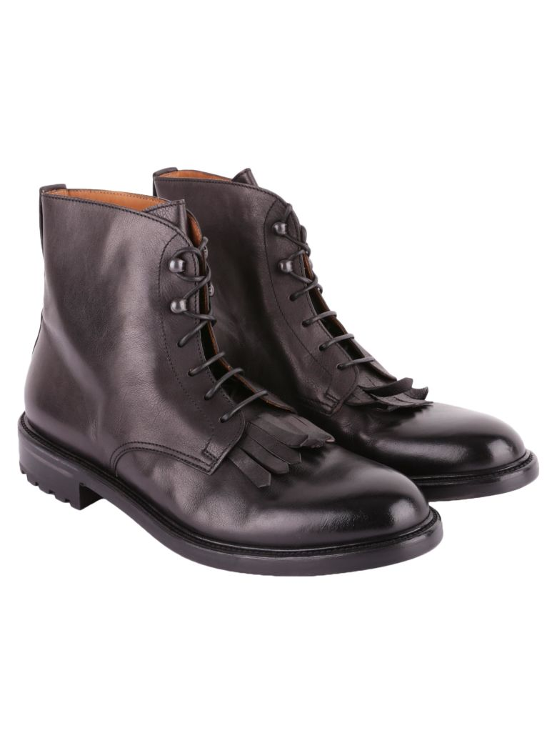 DOUCALS FRINGED LEATHER MILITARY BOOTS