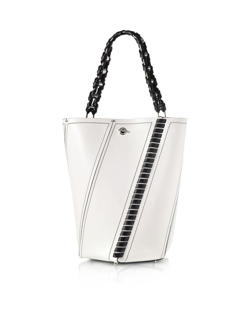 BLACK AND WHITE LEATHER MEDIUM HEX BUCKET BAG W-WHIPSTITCH
