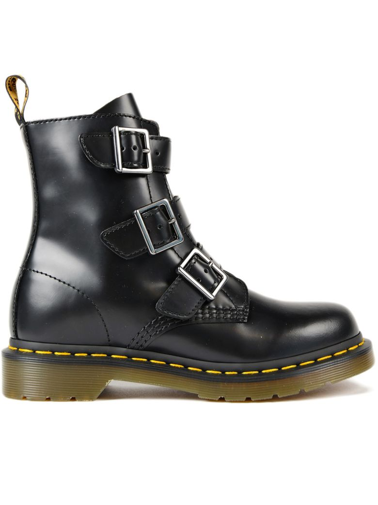 BLAKE BLACK LEATHER ANKLE BOOTS WITH STRAPS AND ZIP