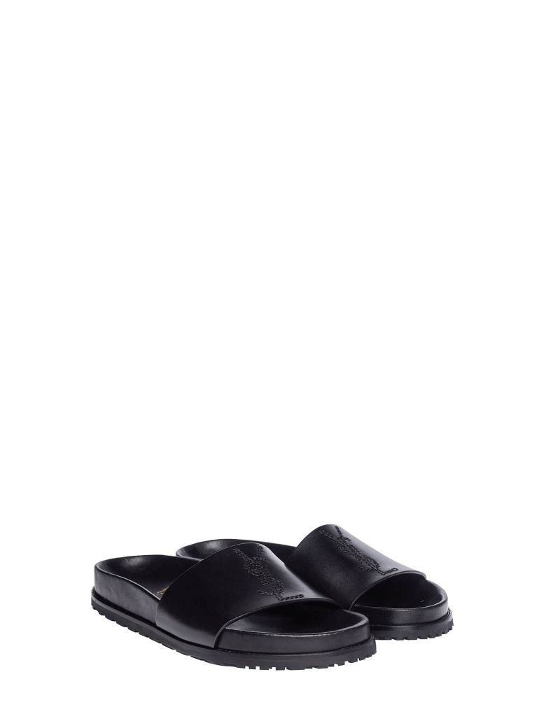 7eb3305bc77a40 SAINT LAURENT JOAN SLIDE SANDAL IN LEATHER