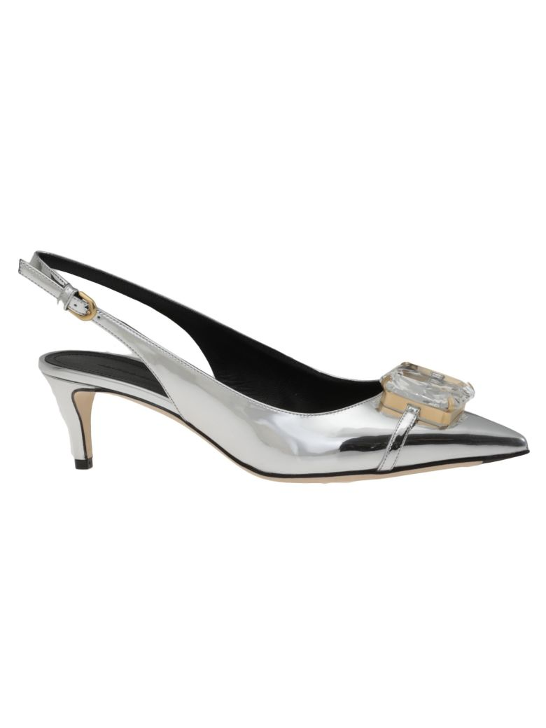 Outlet Low Shipping Fee Amazing Price Sale Online Silver crystal 45 Patent Leather slingbacks Marco De Vincenzo Clearance Looking For 5SQ9Q
