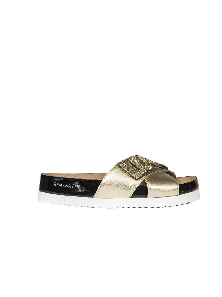 PATRIZIA PEPE Flat Sandals in Gold
