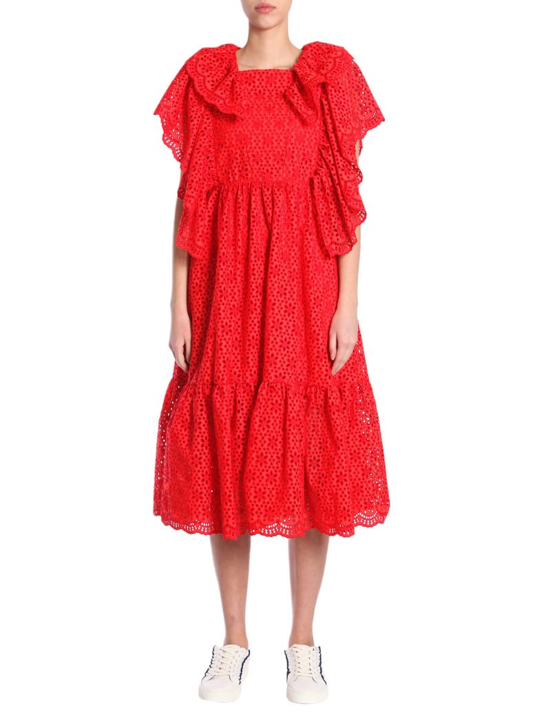 Ruffle-Trimmed Broderie-Anglaise Cotton Dress in Red