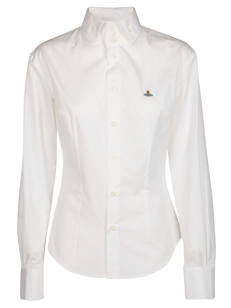 Pianist Logo-Embroidered Cotton Shirt, White