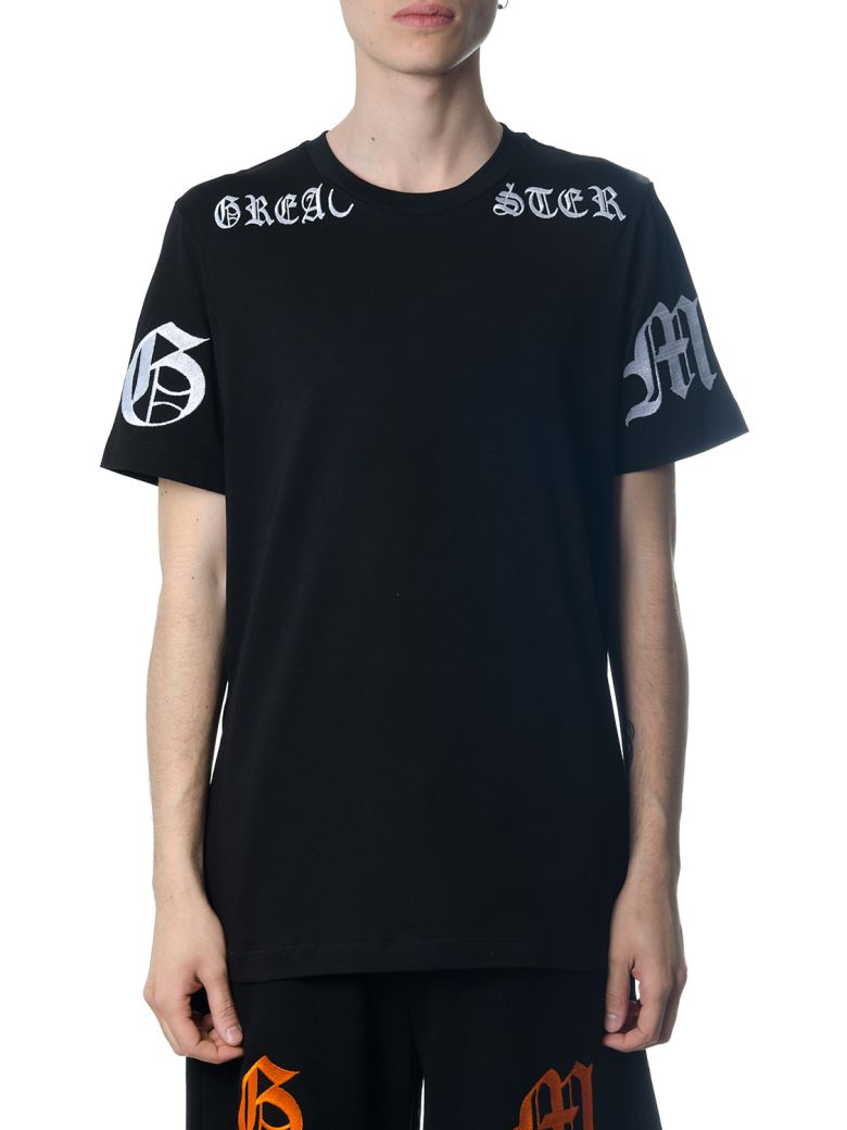 OMC BLACK COTTON T-SHIRT WITH GOTHIC PRINT