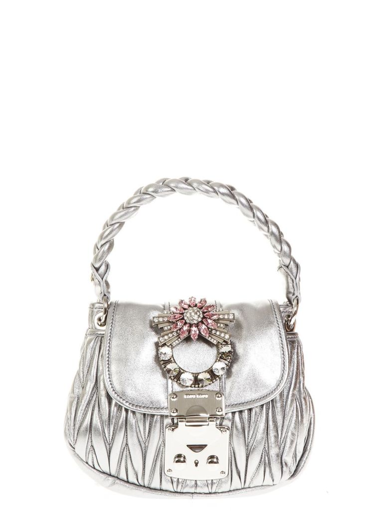 EMBELLISHED METALLIC LEATHER HAND BAG