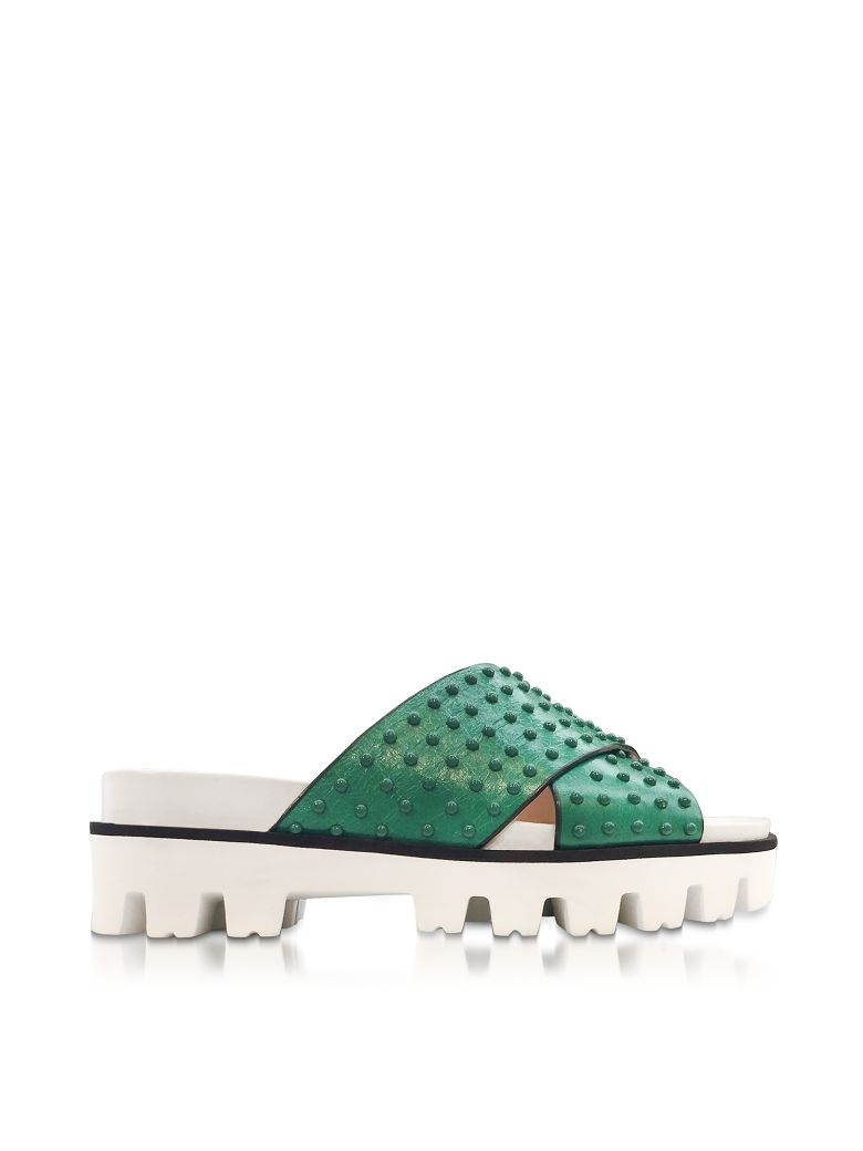 RED VALENTINO MINT GREEN LEATHER SLIDE SANDALS W-STUDS