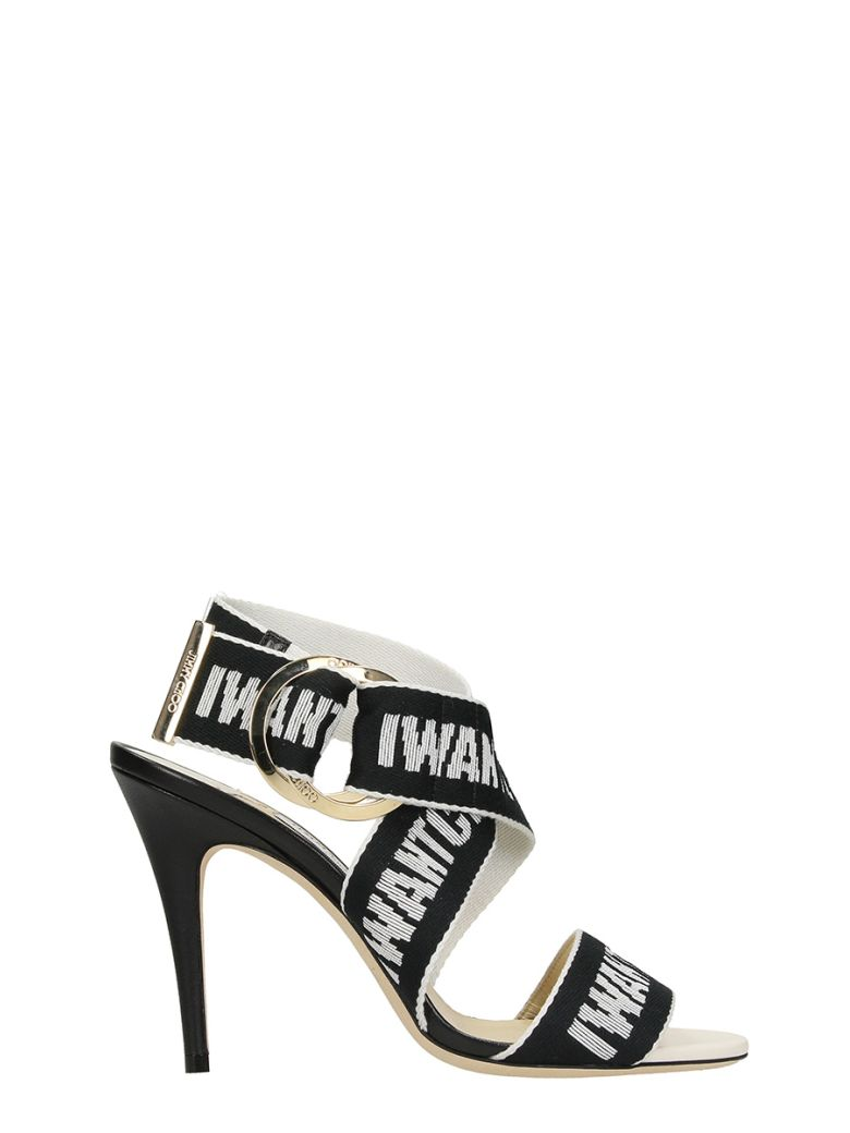 97b7c8a27b3 JIMMY CHOO BAILEY 100 CHALK NAPPA LEATHER SANDALS WITH BLACK AND CHALK LOGO  TAPE