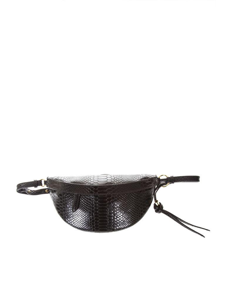 Ella Black Snake Printed Faux Leather Belt Bag