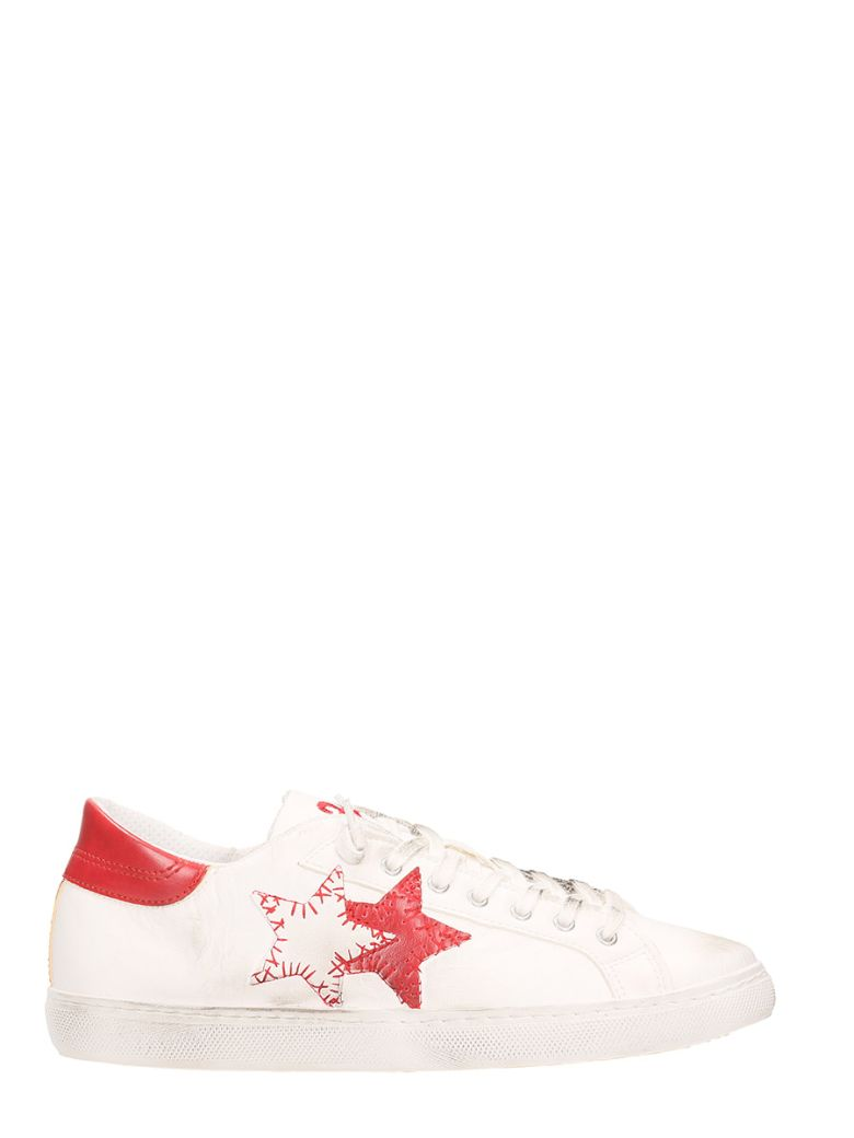 2STAR LOW STAR SPRAY WHITE LEATHER SNEAKERS