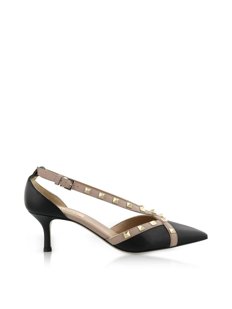 ROCKSTUD D'ORSAY BLACK LEATHER MID HEEL PUMPS