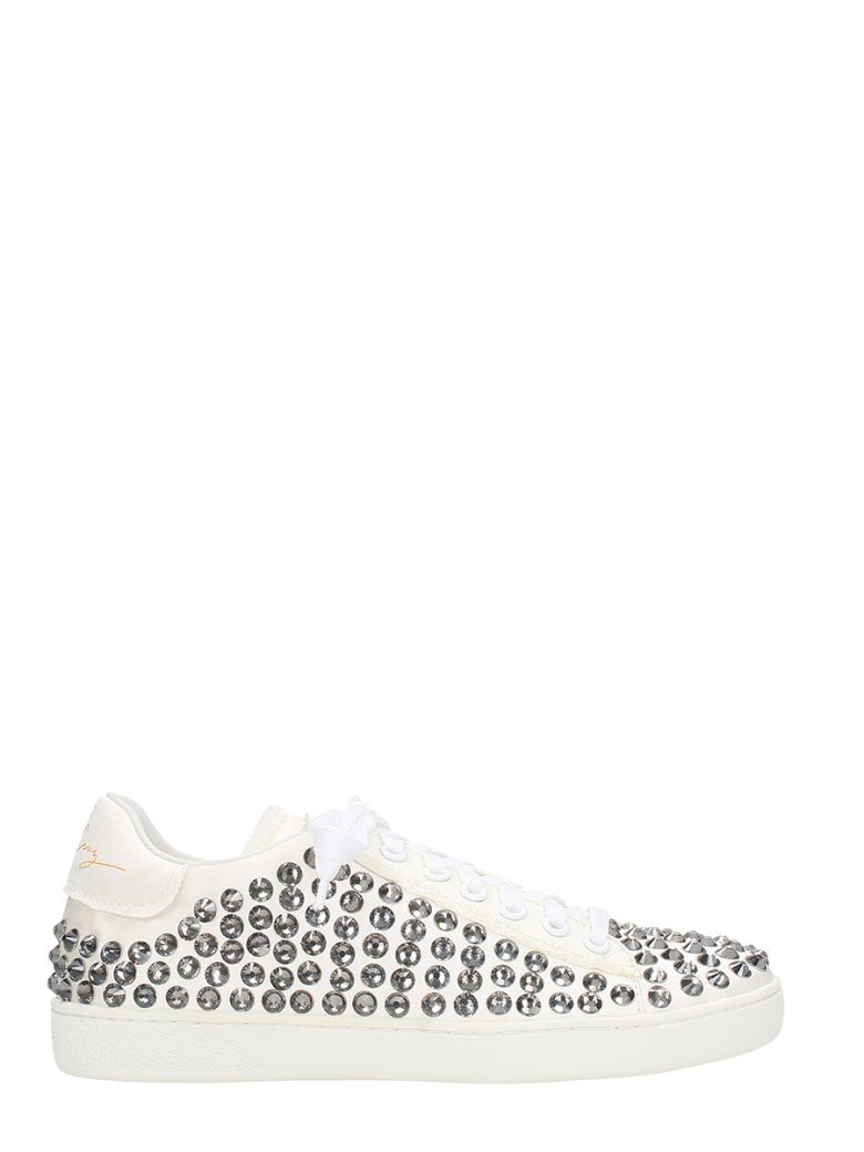 LOLA CRUZ LOTO WHITE SATIN SNEAKERS
