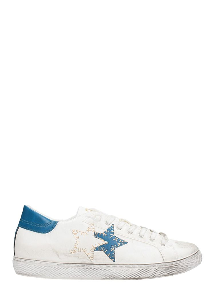 2STAR LOW STAR WHITE LEATHER SNEAKERS
