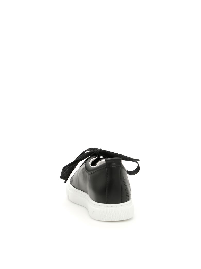 Lanvin Logo-Perforated Leather Sneakers In Black | ModeSens