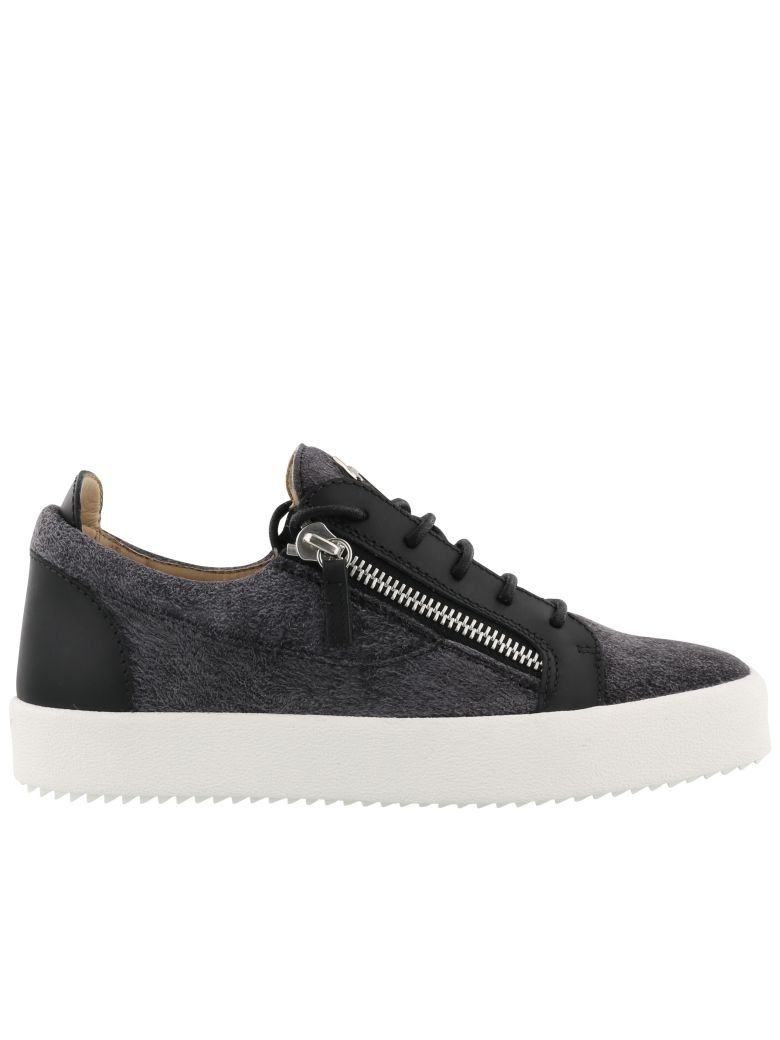 Giuseppe ZanottiBlack and white calfskin leather low-top sneaker FRANKIE NHN25