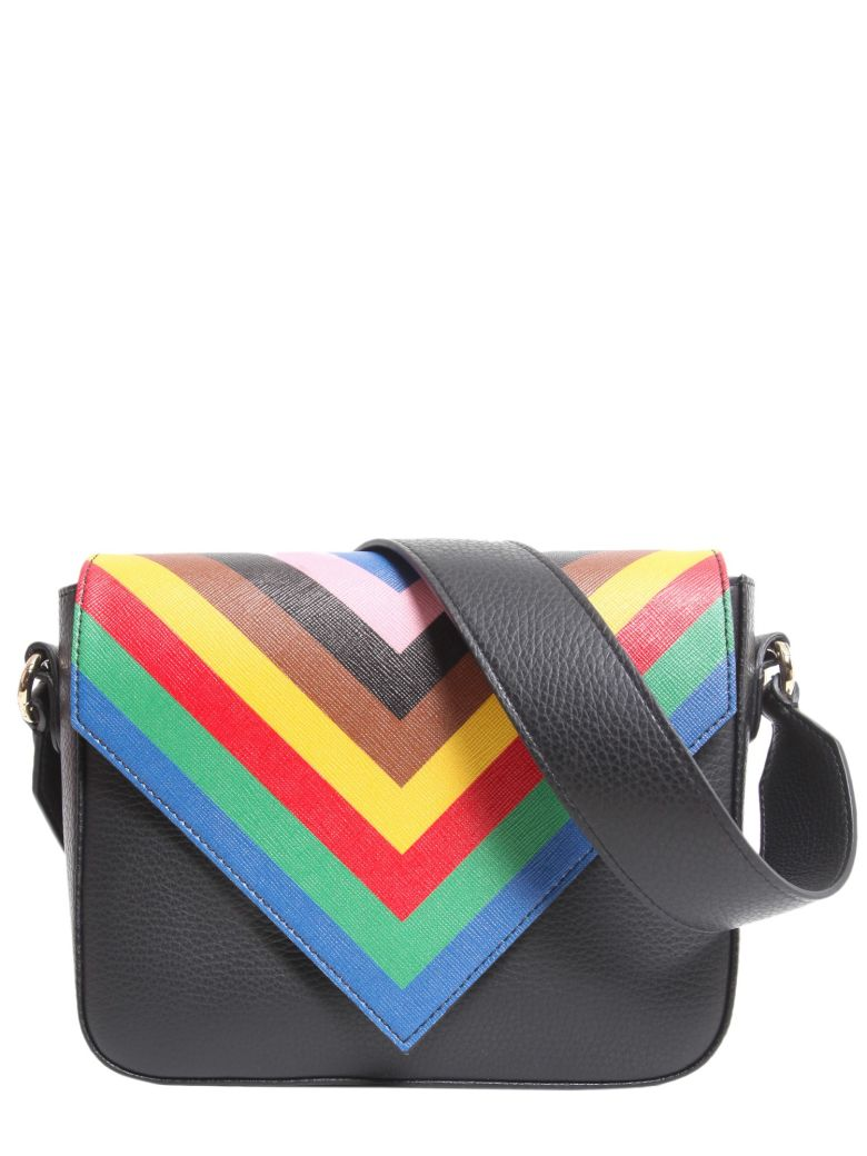 SARA BATTAGLIA Tripe Crossbody Bag in Black