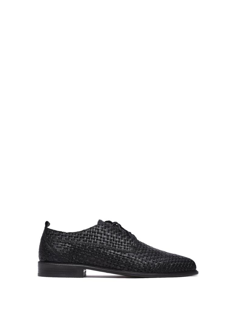 VIC MATIE BLACK BRAIDED LEATHER DERBY SHOES
