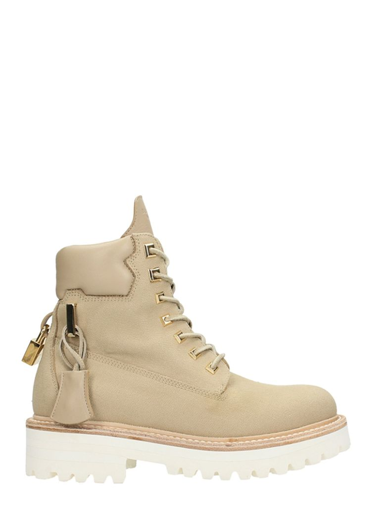 NUDE COTTON AND LEATHER CANVAS SITE BOOTS