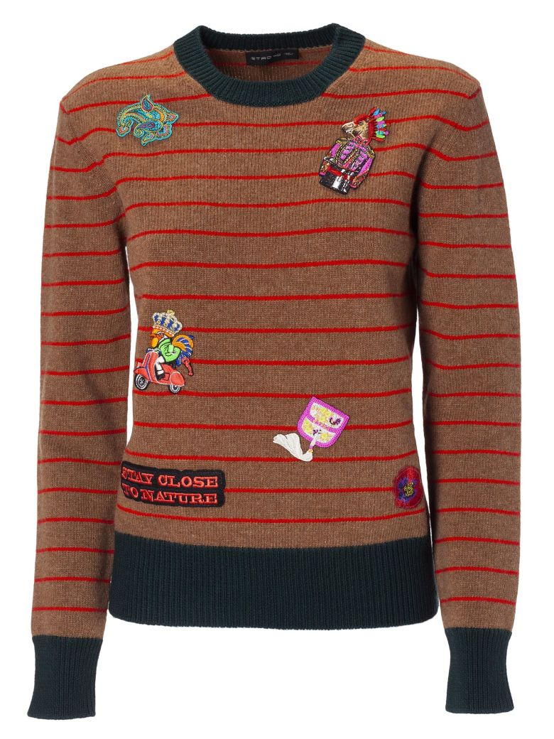 EMBROIDERED STRIPED SWEATER