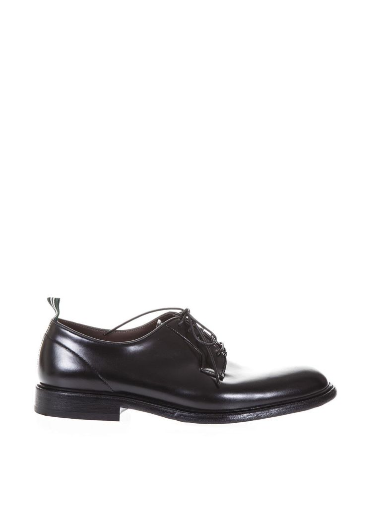 GREEN GEORGE DERBY BLACK CLASSIC LEATHER SHOES