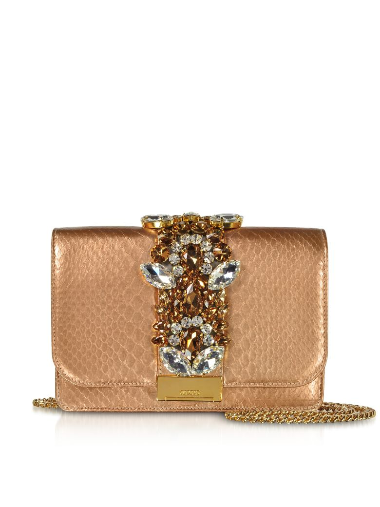CLIKY PYTHON GOLD ROSE PEARL CLUTCH W-CRYSTALS