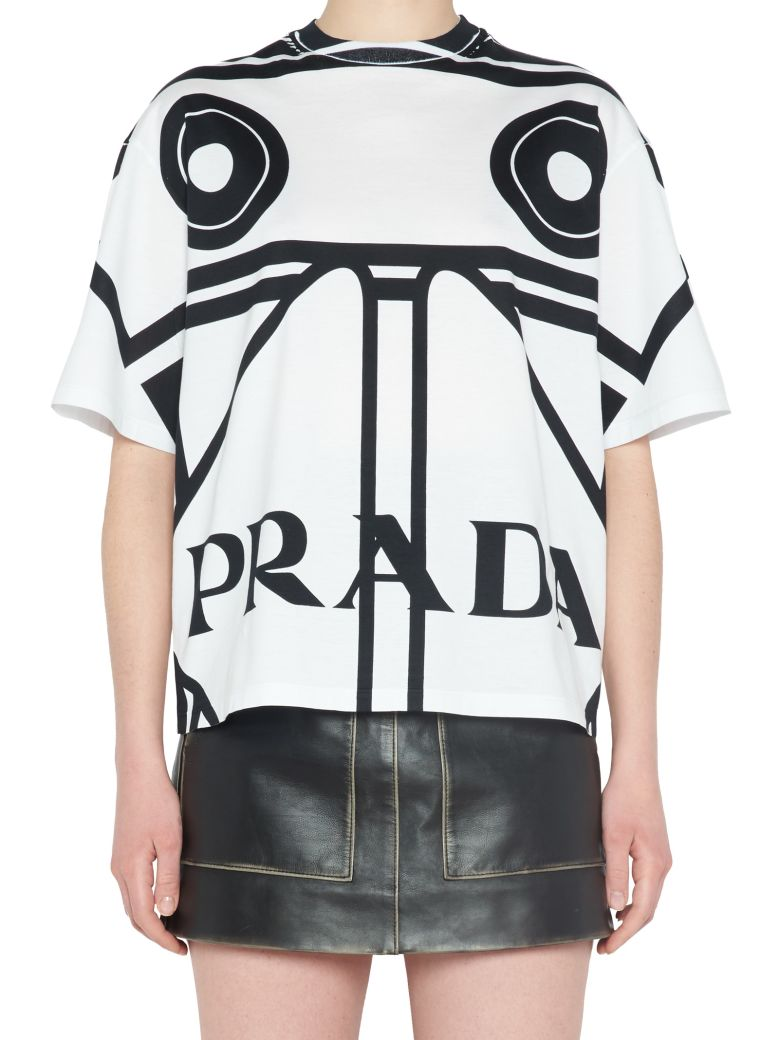 PRADA Round-Neck Koolhaas-Print T-Shirt, Black & White