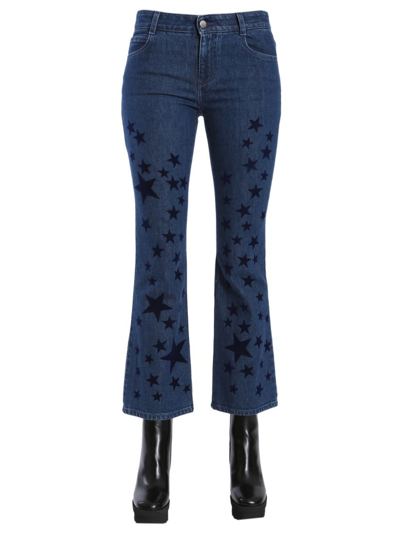 PRINTED STARS COTTON SKINNY KICK JEANS