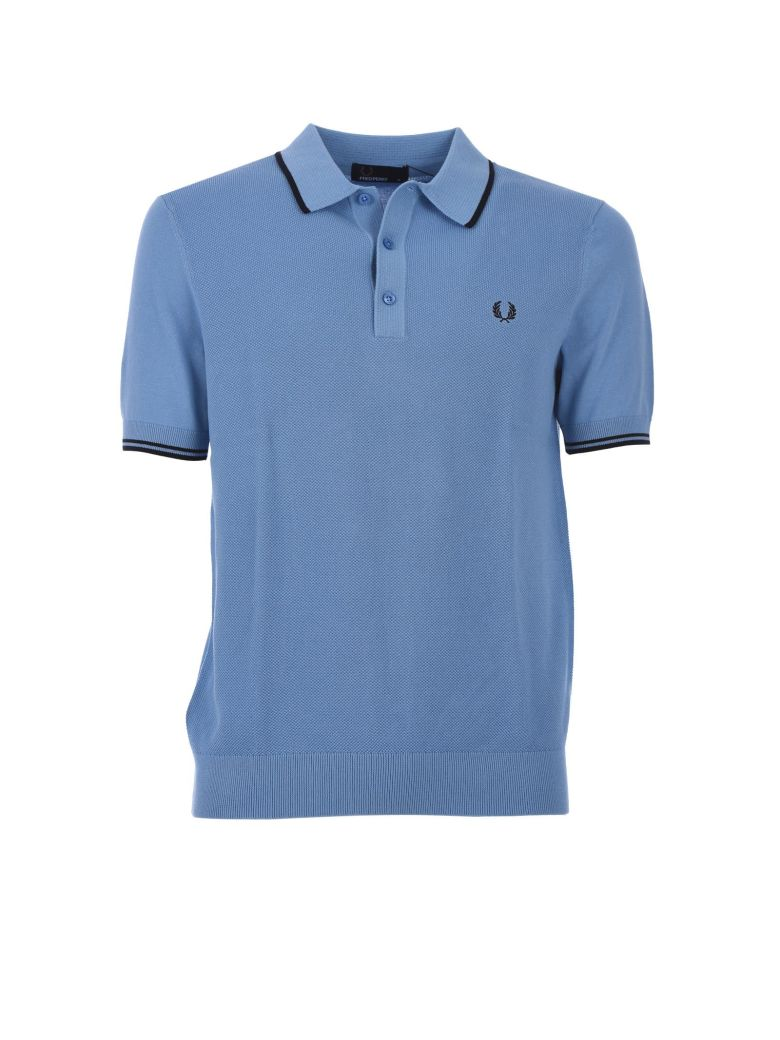152625ff FRED PERRY LIGHT BLUE TIPPED KNITTED SHIRT, AZZURRO   ModeSens