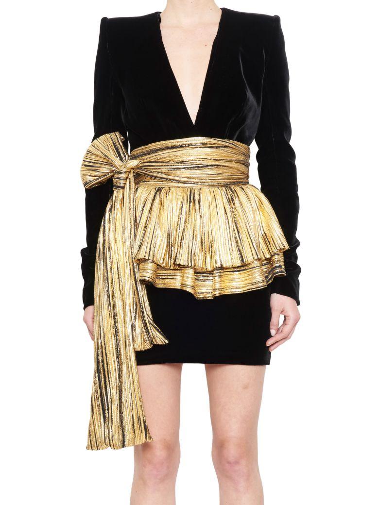 ALEXANDRE VAUTHIER Pleated-Overlay Mini Dress in Metallic