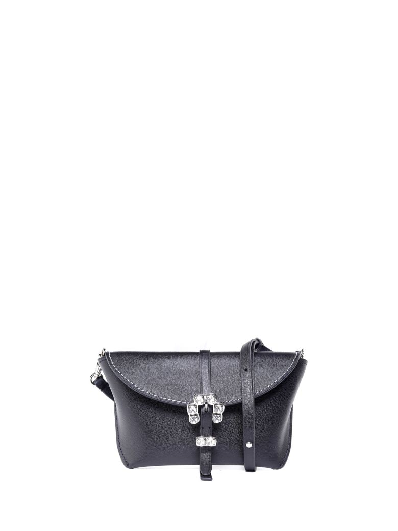 Hudson Crystal-Embellished Leather Cross-Body Bag, Nero